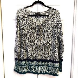 Lucky Brand Tie Front Peasant Blouse